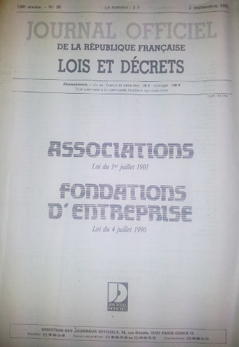 Page de garde du journal officiel de 1992